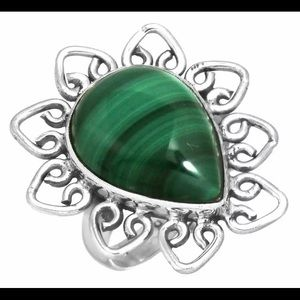 Size 11 natural malachite and solid silver ring